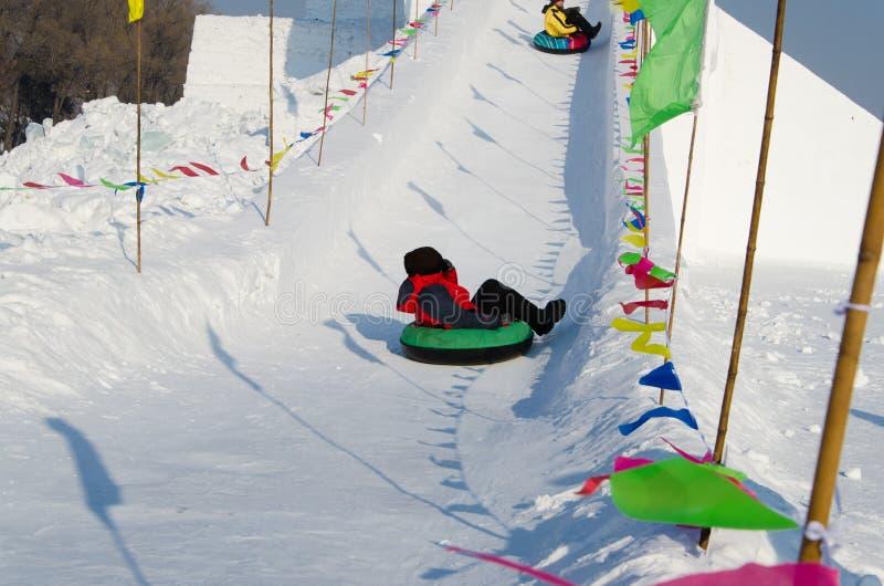 在哈尔滨冰和雪节日的雪雕在哈尔滨中国 库存照片