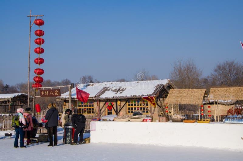 在哈尔滨冰和雪节日的雪雕在哈尔滨中国 免版税库存图片