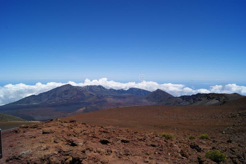 在哈莱亚卡拉火山上面在毛伊夏威夷 库存图片