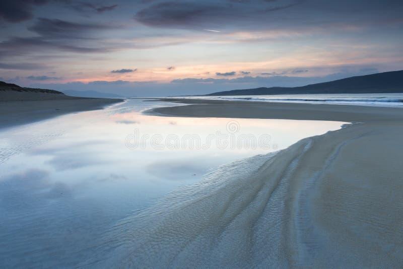 在哈里斯小岛的Luskentyre海滩在苏格兰 库存照片