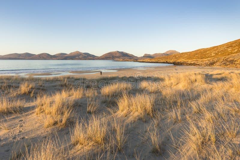 在哈里斯小岛的Luskentyre海滩在苏格兰 库存图片