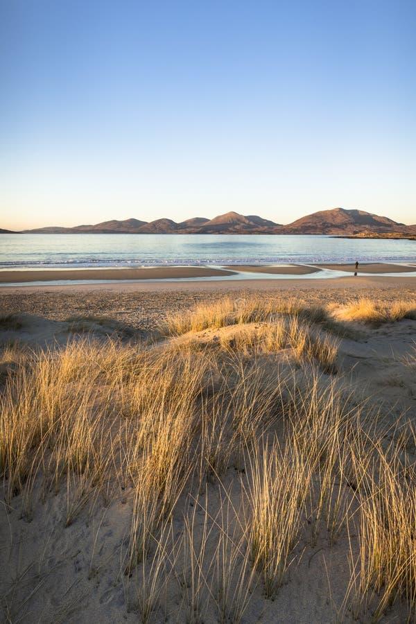 在哈里斯小岛的Luskentyre海滩在苏格兰 免版税库存照片