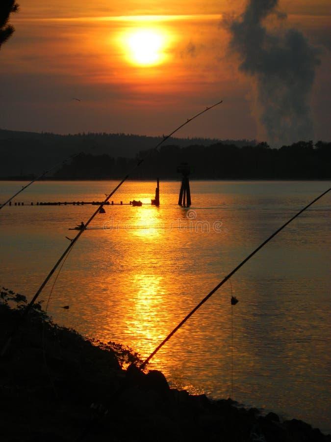 在哥伦比亚河的日出。 免版税图库摄影