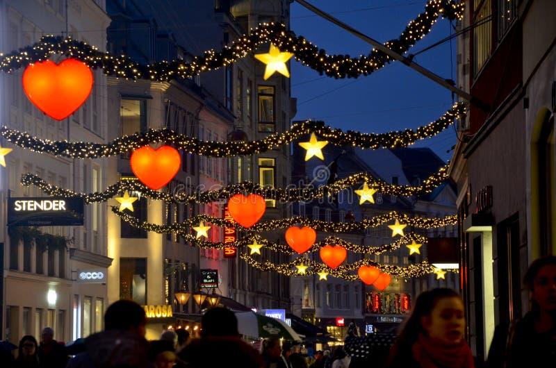 在哥本哈根街道的圣诞节  免版税库存图片