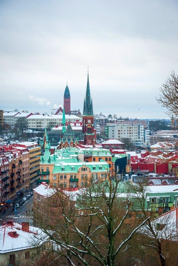 在哥特人在冬天,瑞典的看法 免版税库存图片
