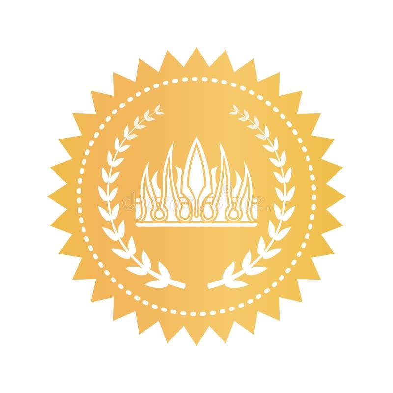 在哥特式样式的皇家冠在金黄圆的象征 向量例证