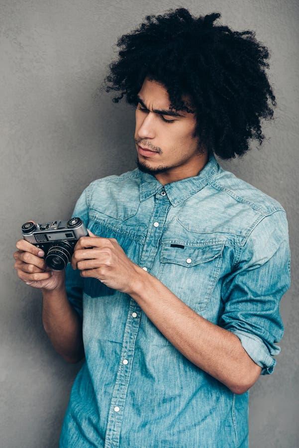 在哪里按钮在这台照相机? 图库摄影