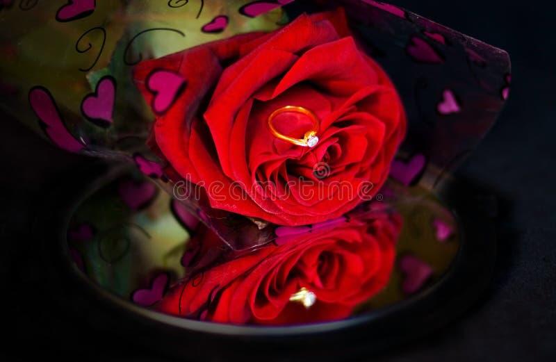 在唯一红色环形的玫瑰的订婚镜子 免版税库存图片