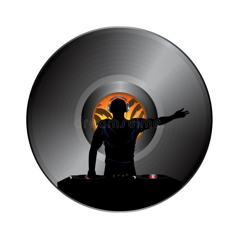 在唱片圆盘边界的DJ剪影 库存例证