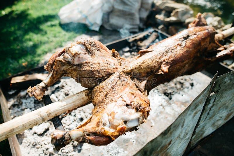 在唾液的小牛肉肉 库存照片