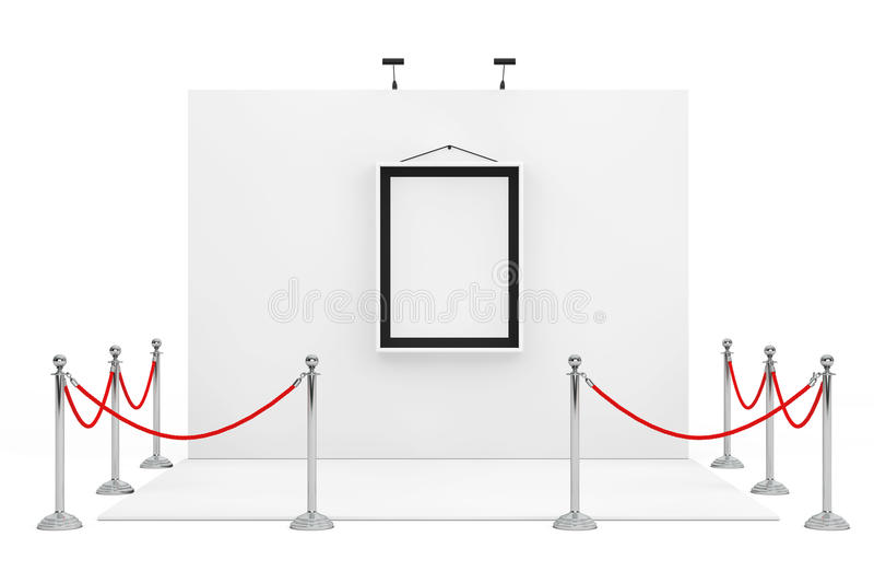 在商业展览摊附近的障碍绳索有白色画框的 皇族释放例证
