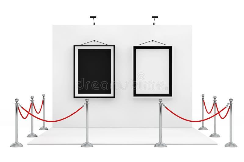 在商业展览摊附近的障碍绳索有黑白Pictur的 皇族释放例证