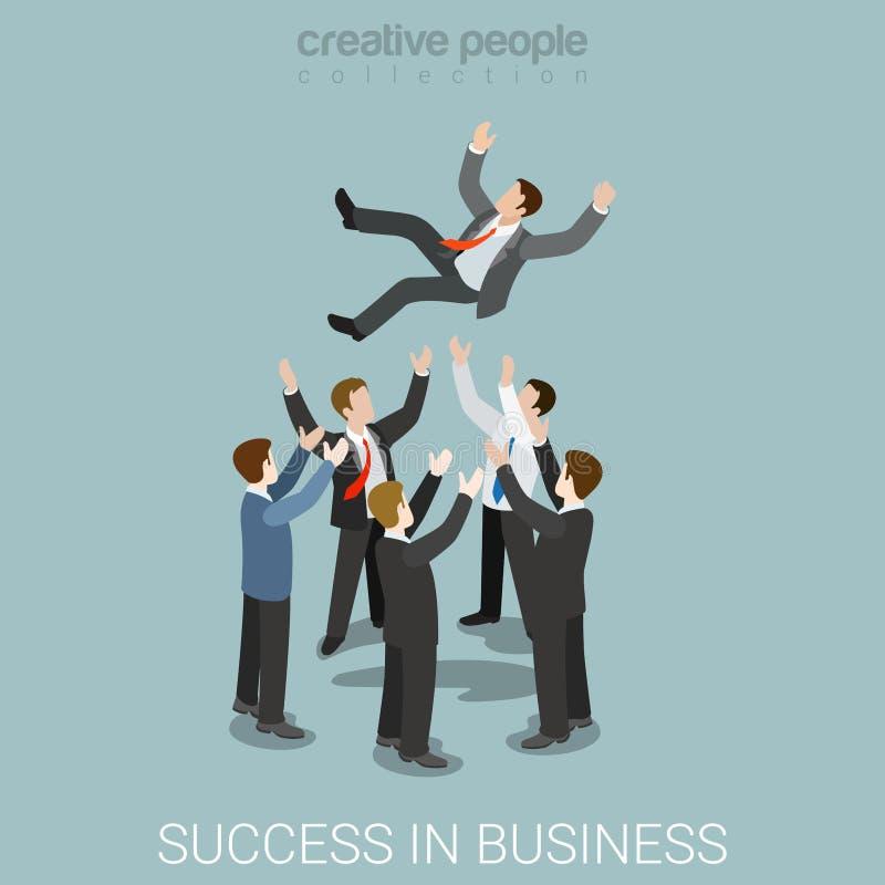 在商业领袖队的平的3d等量传染媒介成功 向量例证