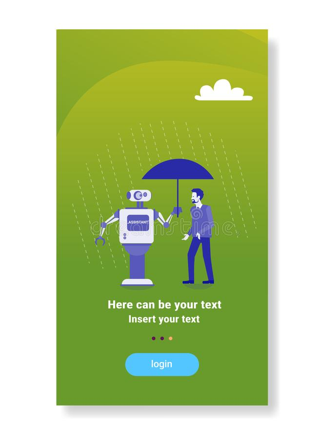 在商人保护人工智能机制技术辅助概念的现代机器人藏品伞 皇族释放例证