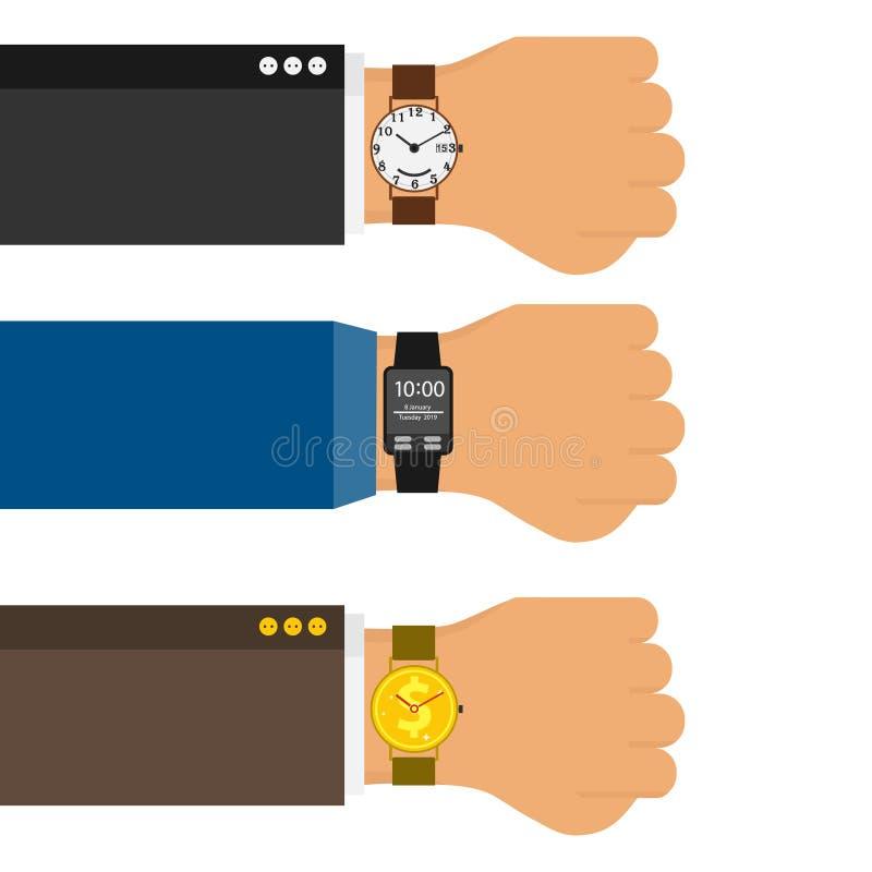 在商人的手上的手表在衣服的 三只水平的手有经典手表,体育手表的和以形式o 向量例证