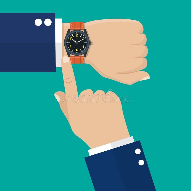 在商人的手上的手表在衣服的 库存例证