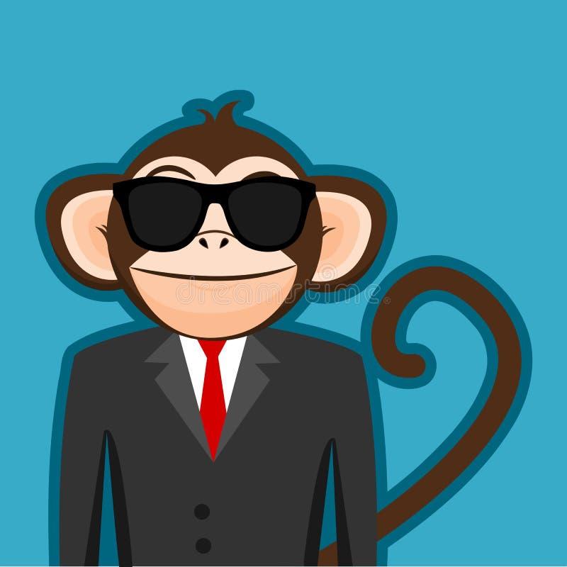 在商人衣服的猴子与黑太阳镜动画片 向量例证
