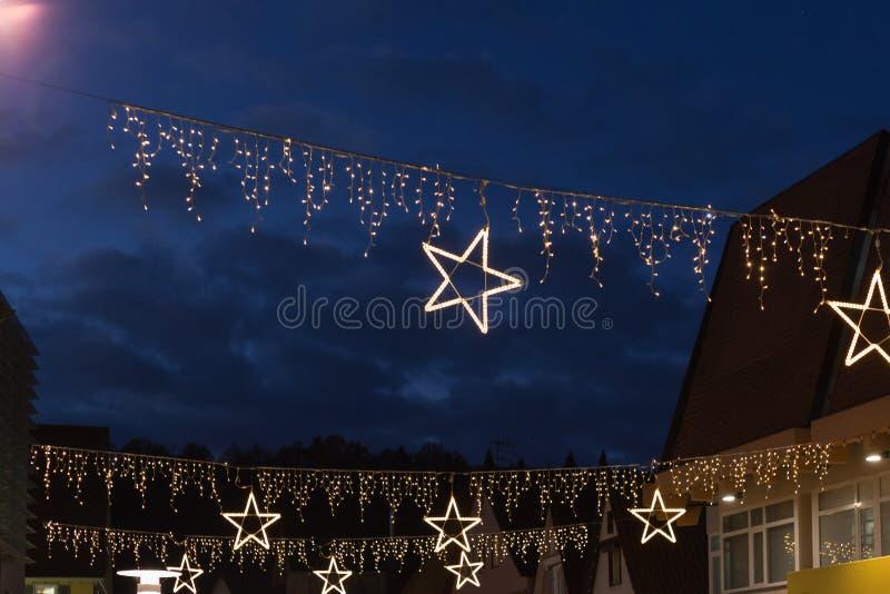 在商城的圣诞节星 库存图片