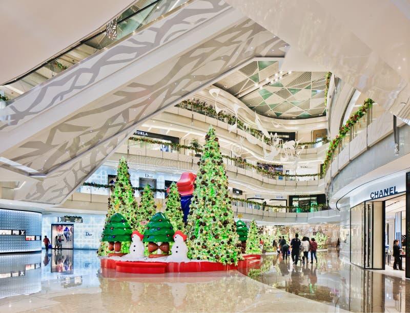 在商城,上海,中国的圣诞节装饰 库存照片
