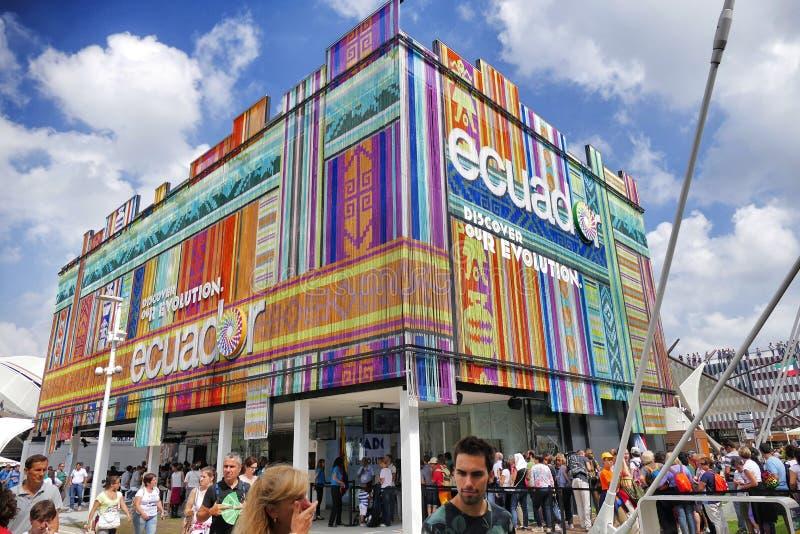 在商展2015年米兰的厄瓜多尔pavillion 库存照片