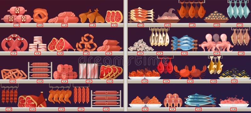 在商店或商店摊位的肉和鱼制品 向量例证