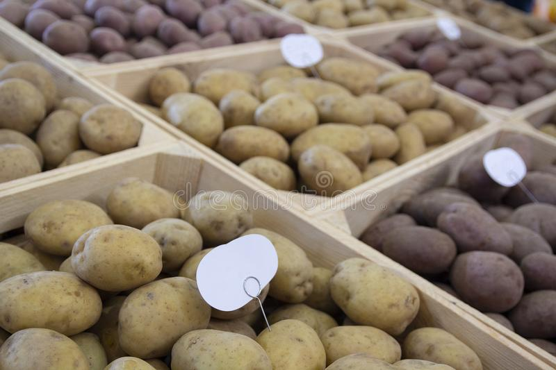 在商店柜台的选择的土豆肿胀 免版税库存照片