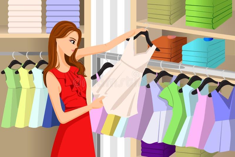 在商店的女孩买的衣裳 向量例证
