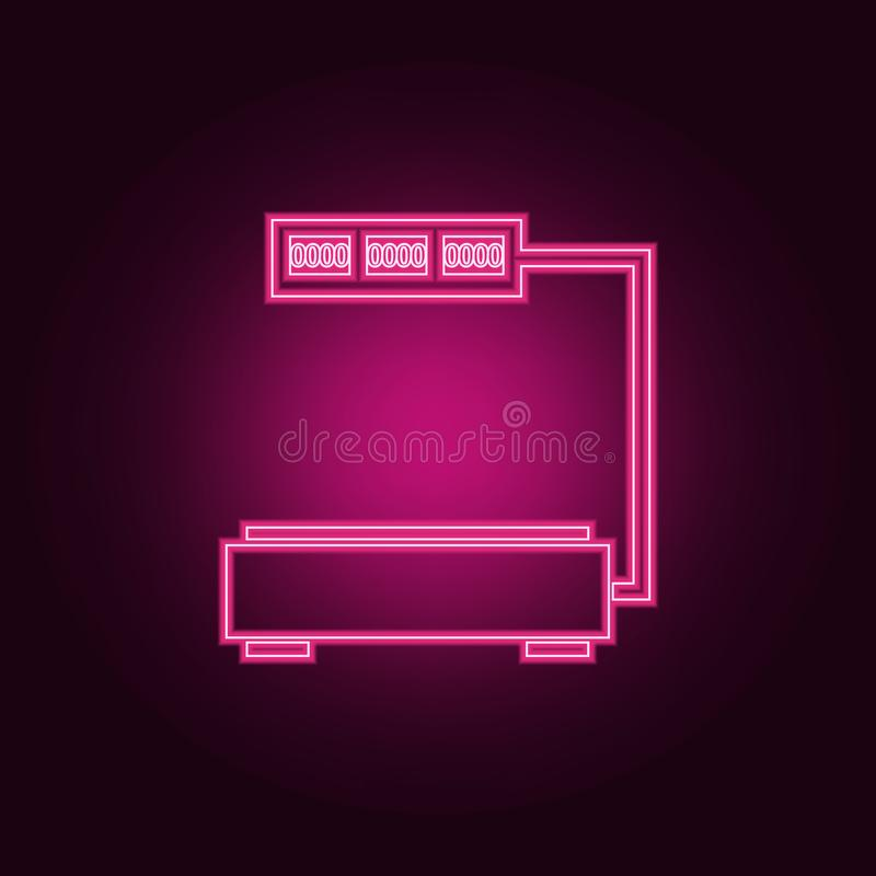 在商店象的标度 测量元件的元素在霓虹样式象的 网站的简单的象,网络设计,流动app, 向量例证