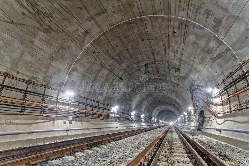 在喀尔巴阡山脉的新的铁路隧道,乌克兰 免版税库存图片