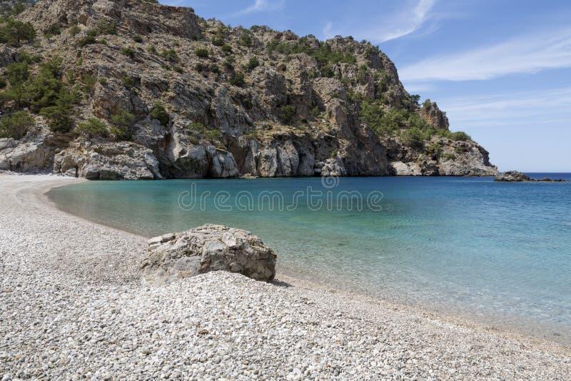 在喀帕苏斯岛海岛,希腊上的Achata海滩 图库摄影