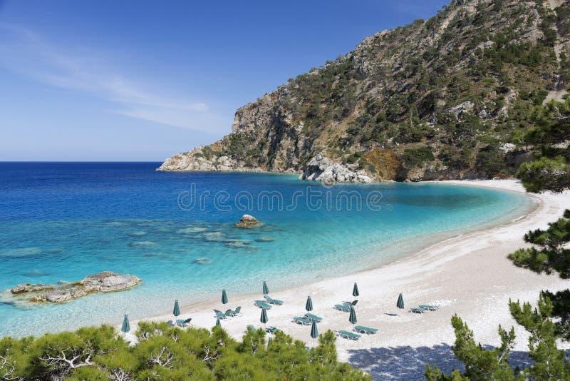在喀帕苏斯岛海岛,希腊上的Apella海滩 免版税库存图片