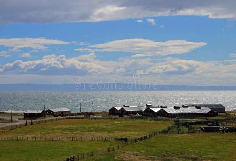 在喀麦隆Temaukel,火地群岛,智利的自治市附近的村庄中心种田 免版税库存图片