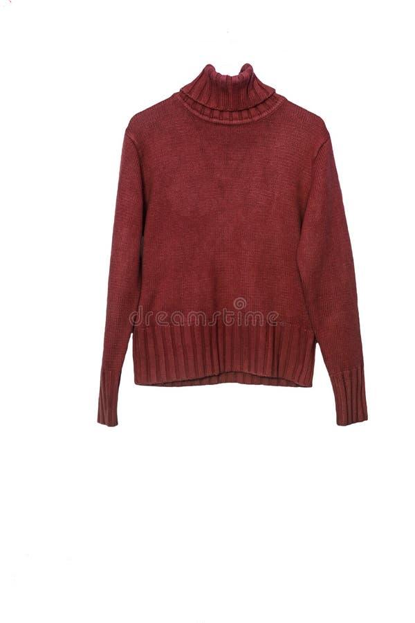在喉头下的温暖的毛衣,在白色背景 在标志横线和肩膀的照片 库存照片