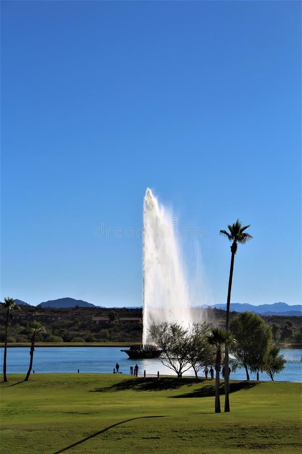 在喷泉山,马里科帕县,亚利桑那,美国的喷泉 免版税库存照片