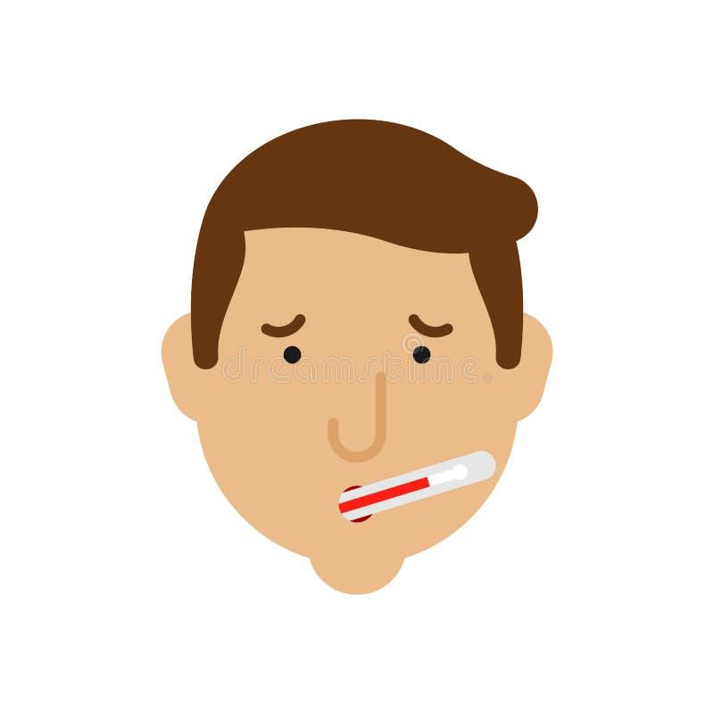 在嘴的温度计 热高温 冷流感 问题和减少的健康隐喻  痛苦医疗医疗保健 皇族释放例证