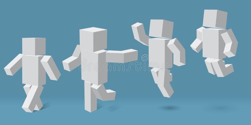 在四个不同姿势的立方体字符 向量例证