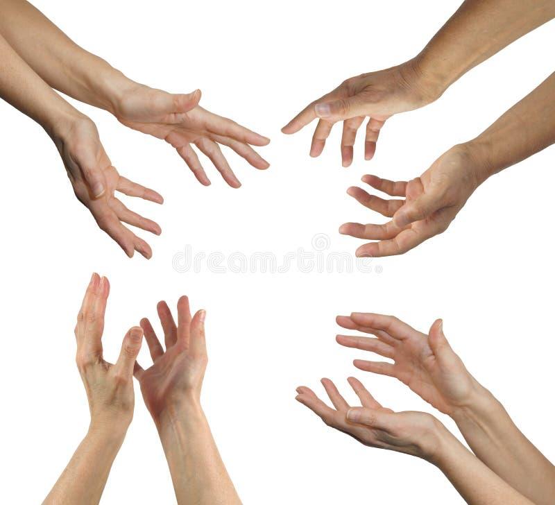 在四个位置的愈疗者的手 免版税图库摄影