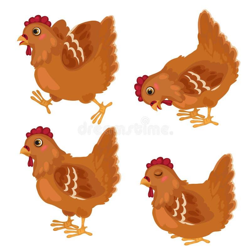在四个姿势的动画片鸡,传染媒介动物 皇族释放例证