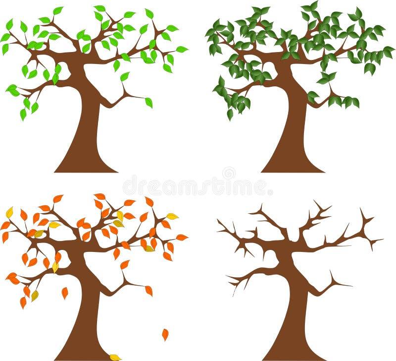 在四个季节的树 皇族释放例证