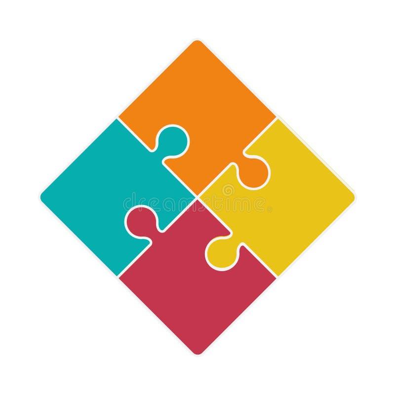 在四个难题片断象的正方形 皇族释放例证
