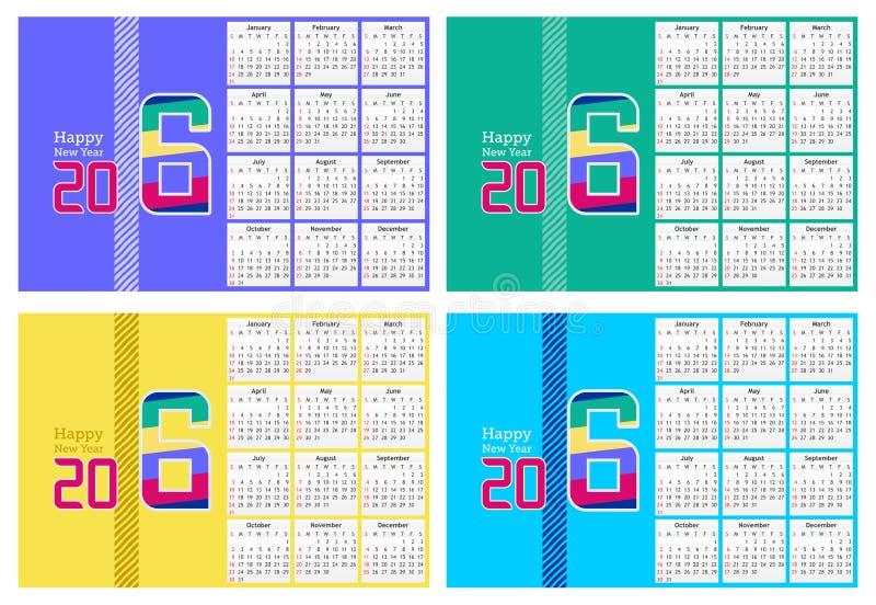 在四种不同颜色的抽象新年好2016日历设计 库存例证