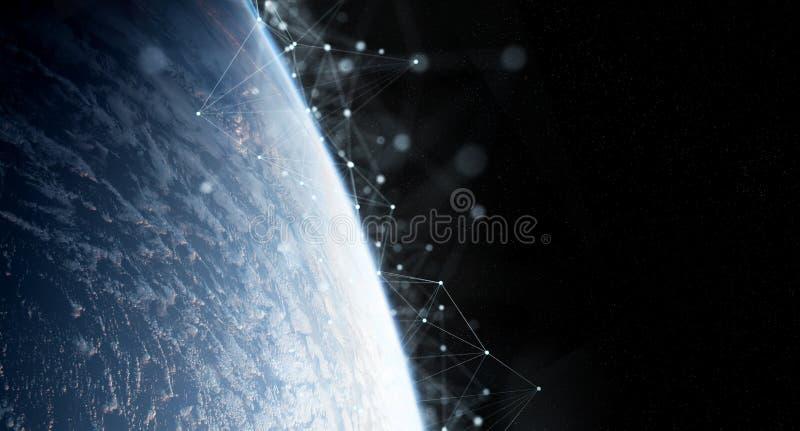 在回报这个图象的元素地球3D的全球性数据交换和连接系统由美国航空航天局装备了 向量例证