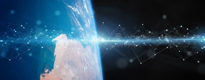 在回报这个图象的元素地球3D的全球性数据交换和连接系统由美国航空航天局装备了 库存例证