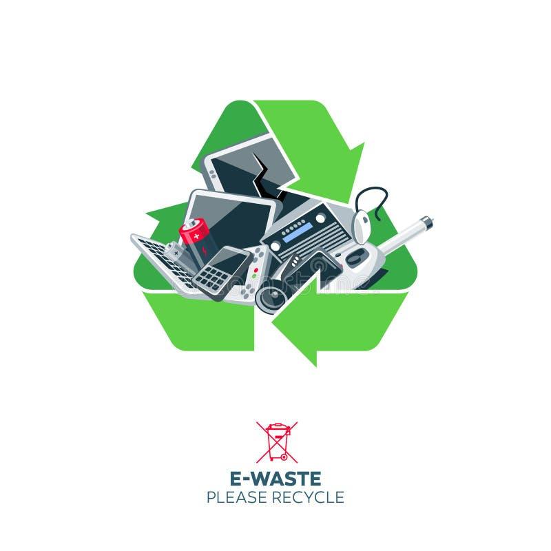在回收标志标志的E废物 库存例证