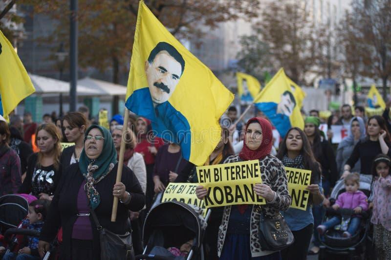 在团结Kobane的库尔德示范在维也纳 免版税库存照片