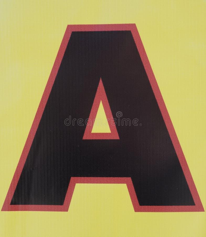 在困厄的状态印刷术被找到的信件A的书面字词 免版税库存图片