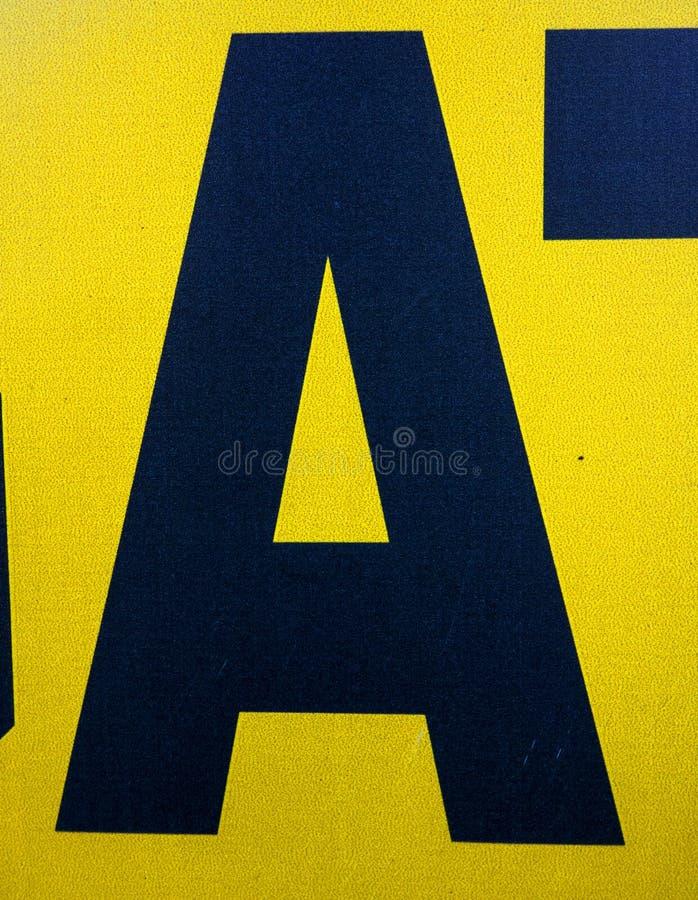 在困厄的状态印刷术被找到的信件A的书面字词 库存照片