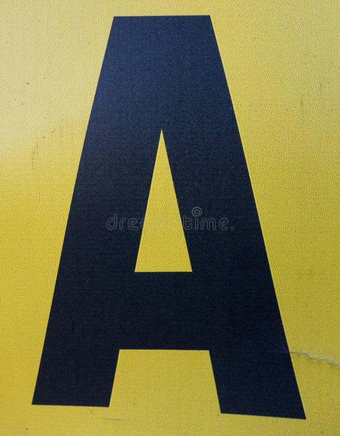 在困厄的状态印刷术被找到的信件A的书面字词 免版税库存照片