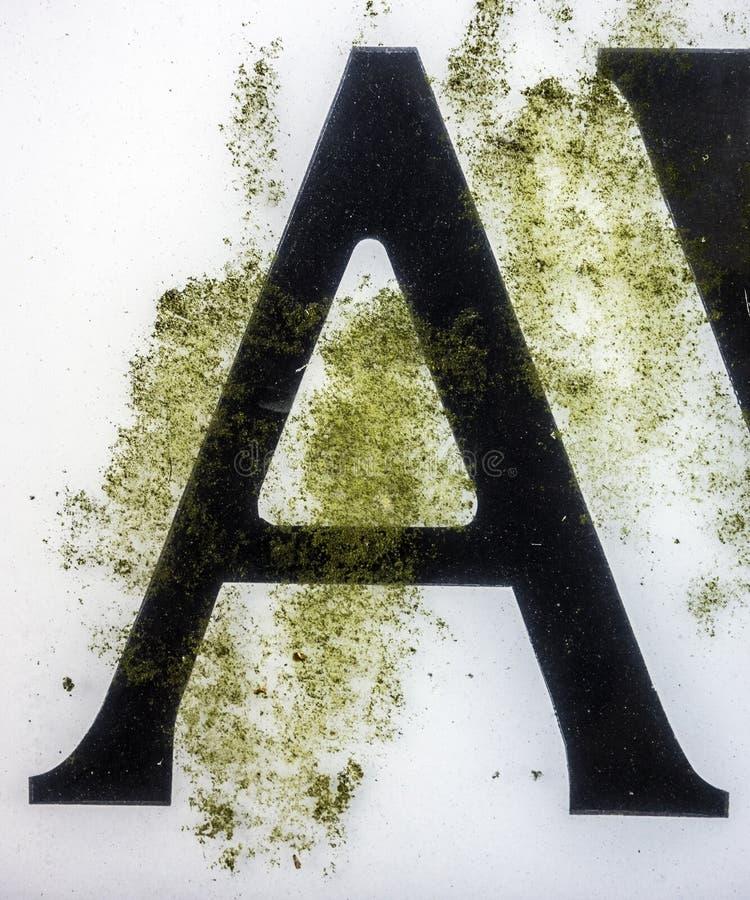 在困厄的状态印刷术被找到的信件A的书面字词 免版税图库摄影