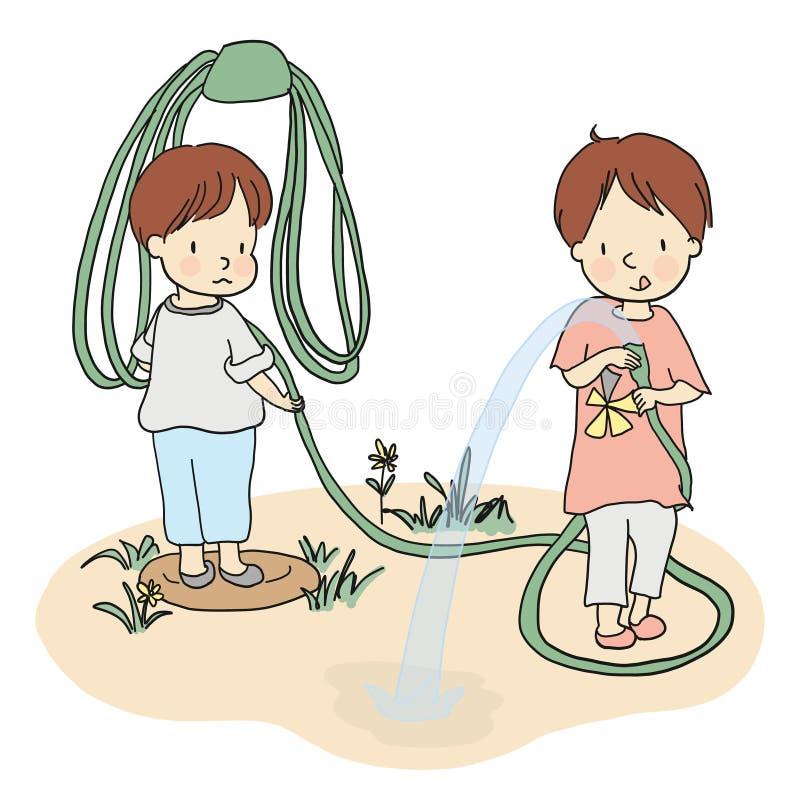 在围场导航使用与水水管的两个小孩的例证 库存例证